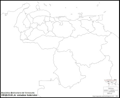 Mapa mudo de VENEZUELA, estados federales