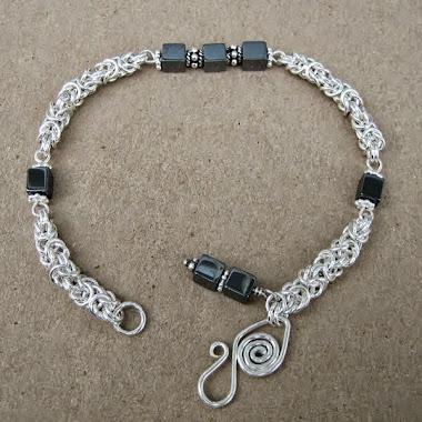 Sterling Silver Byzantine Bracelet with Hematite
