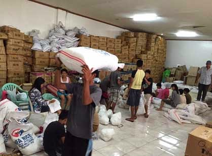 Repacking of relief goods in Camarines Sur