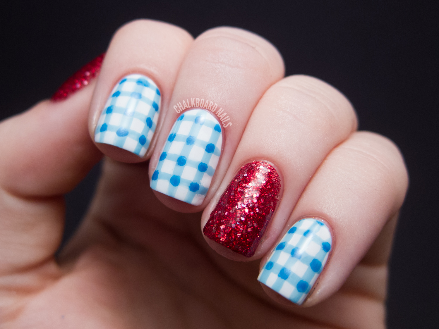 Costume Nails: Dorothy from The Wizard of Oz | Chalkboard Nails ...
