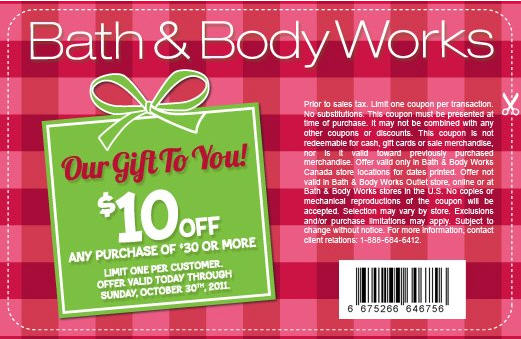Bath   Body Works   10 Off Any Purchase of  30 or more In Store Coupon   Until Oct 30. Bath   Body Works   10 Off Any Purchase of  30 or more In Store