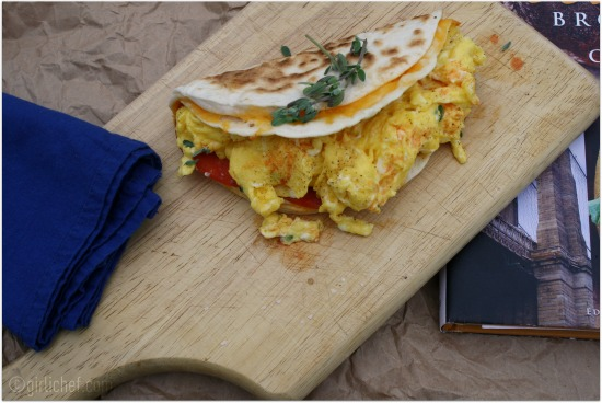 50 Women Game-Changers (in Food): #32 Tracey Ryder and Carole Topalian - Cheddar, Pepperoni, and Egg Quesadilla Sandwich