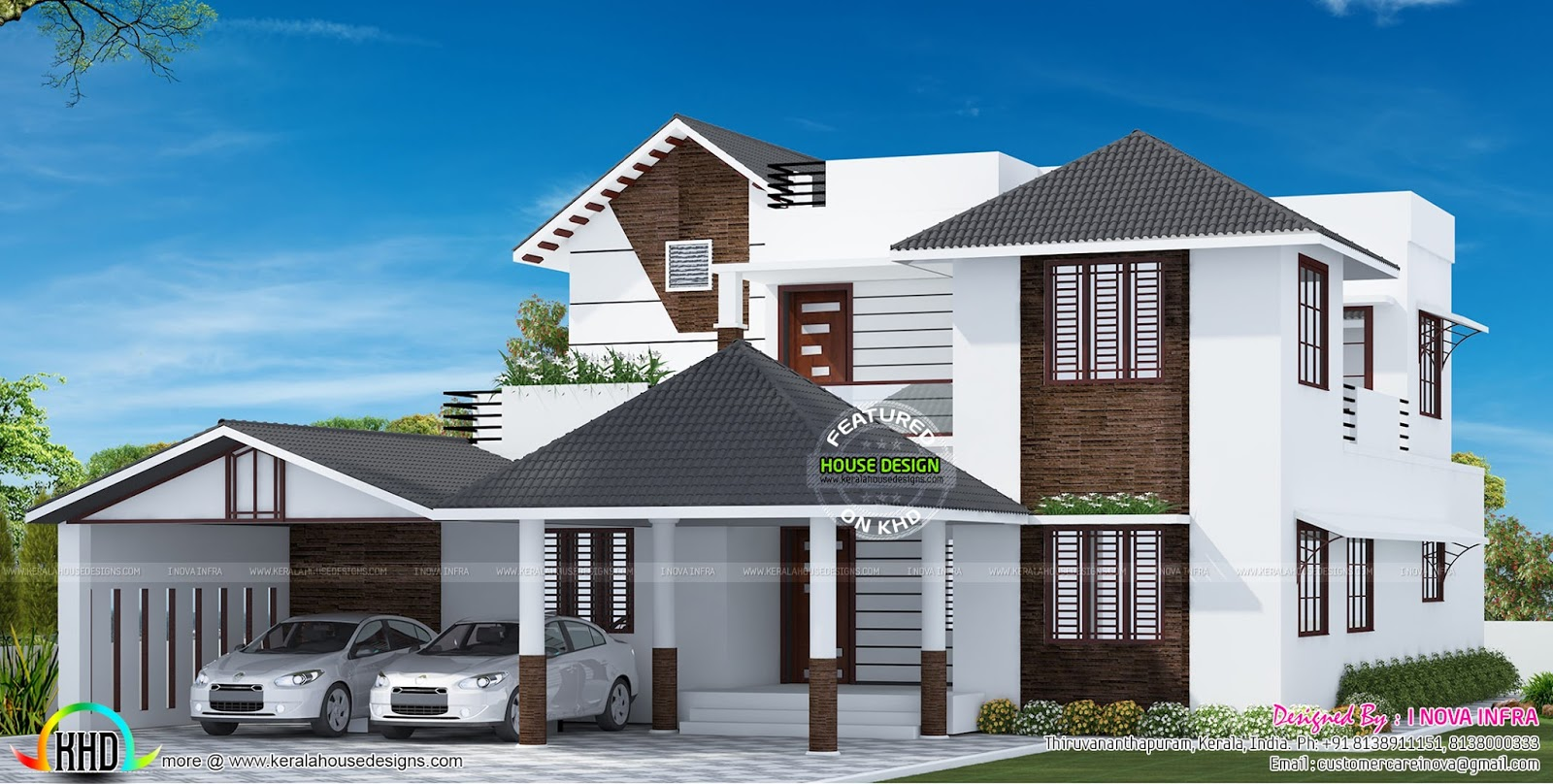 Sloping roof mix house at trivandrum kerala home design for Sloped roof house plans in india