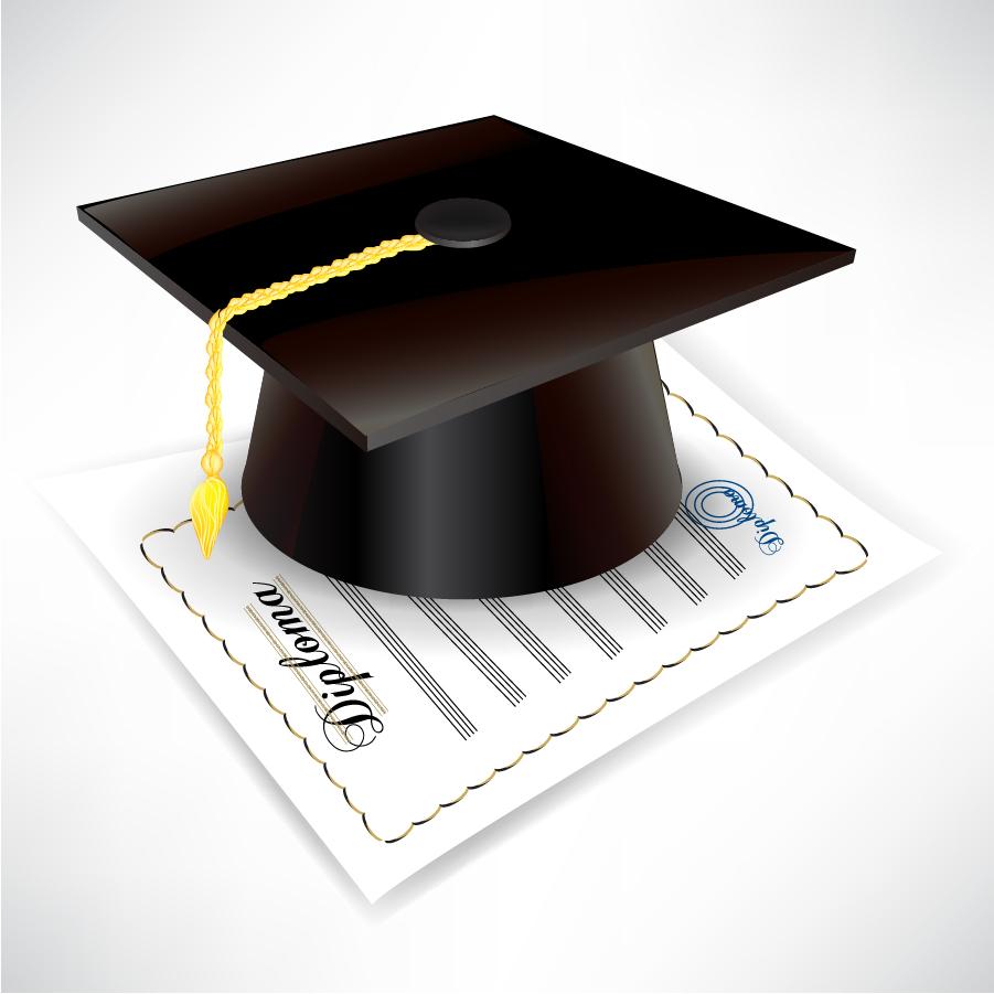 角帽と卒業証書 graduation cap and diploma イラスト素材5