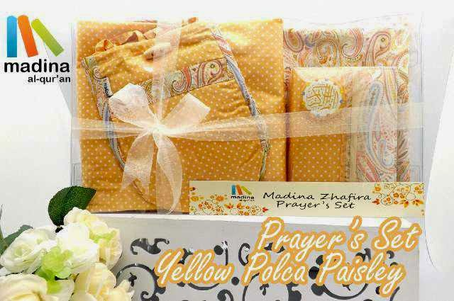 prayer set madina, prayer set cantik, prayer set warna serupa, prayer set motif serupa