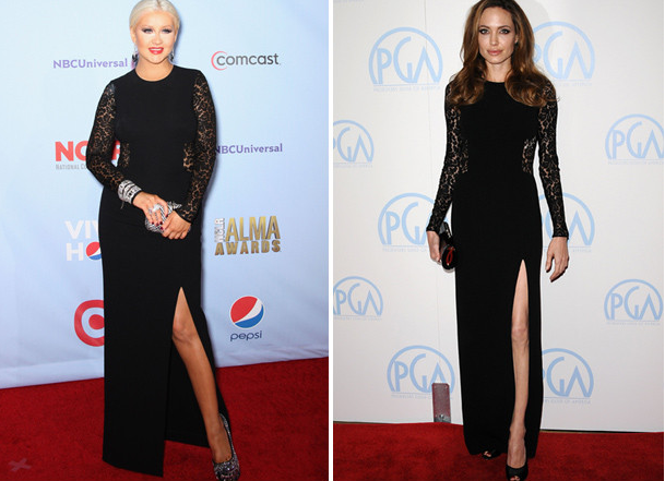 Christiana Aguilera vs Angelina Jolie on Michael Kors @osaseye.blogspot.com