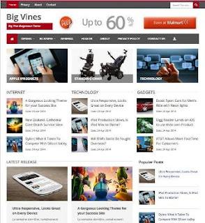 BigVines - Template Blog SEO Unik Gaya Majalah