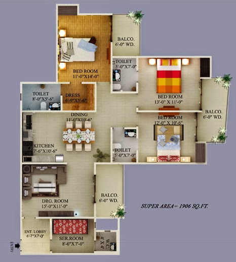 Ecovillage Noida Extension :: Floor Plans 3 BHK 1464 sqft