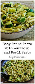 Easy Penne Pasta Recipe with Zucchini and Basil Pesto (Meatless) [from KalynsKitchen.com]