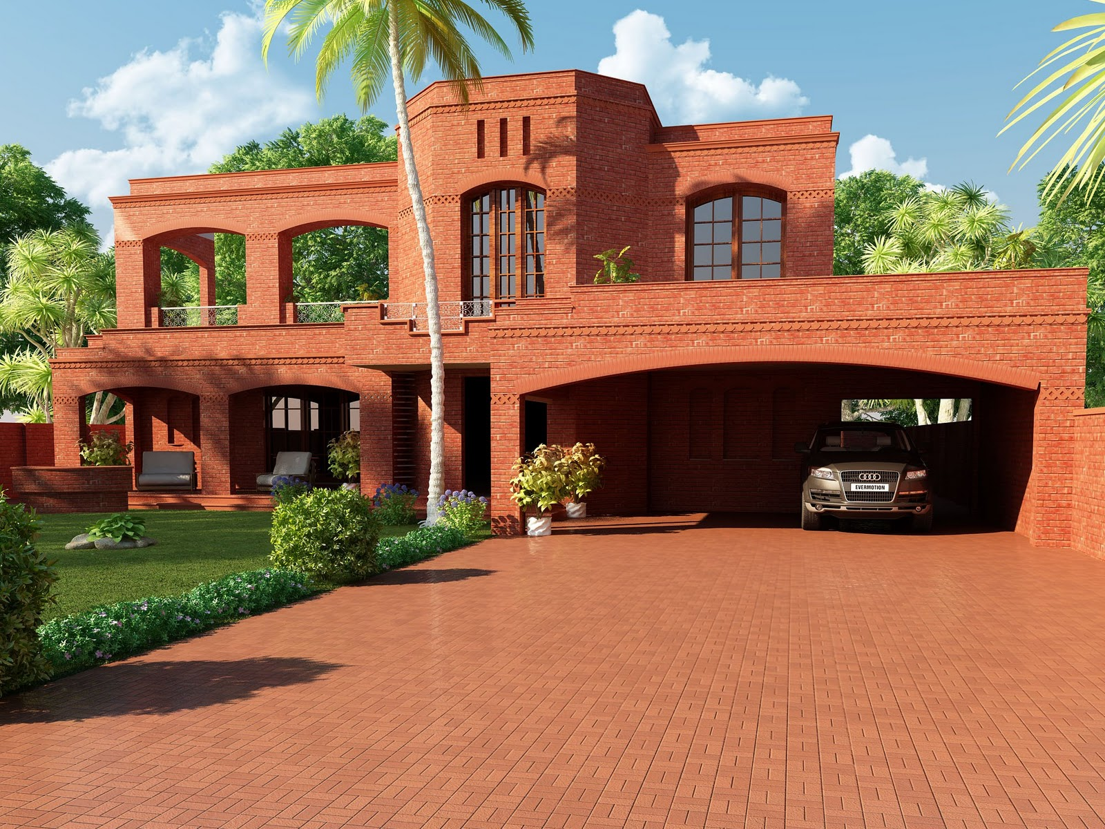 Kerala building construction typical home 3d red themed for Typical house design