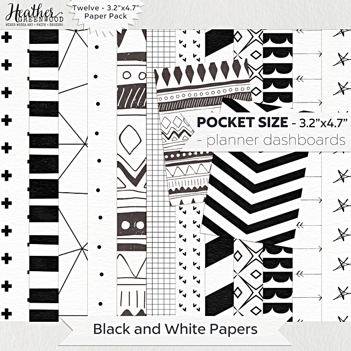 Black and White Geometric Digital Papers | FiloFax Pocket Planner Sized digital papers by Heather Greenwood Designs