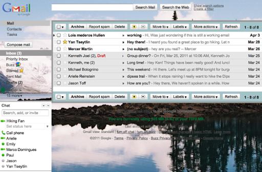 Gmail Slike kao pozadine za prilagoditi theme