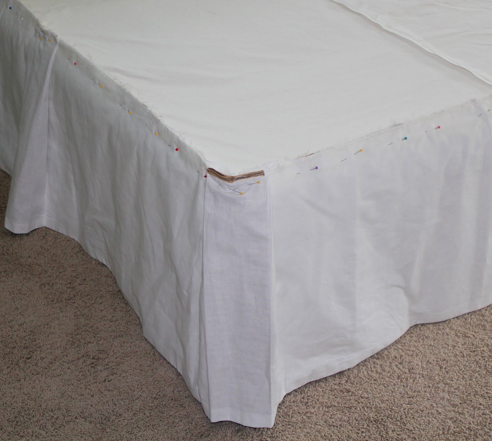 crafty bedskirt with contrasting box pleats