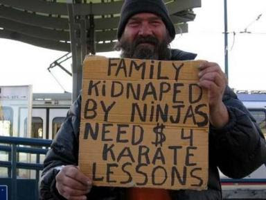 RE: Carrying swords n' shit in public HomelessSign