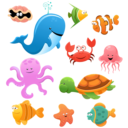 Animales marinos cartoon - Vector | Vector Clipart