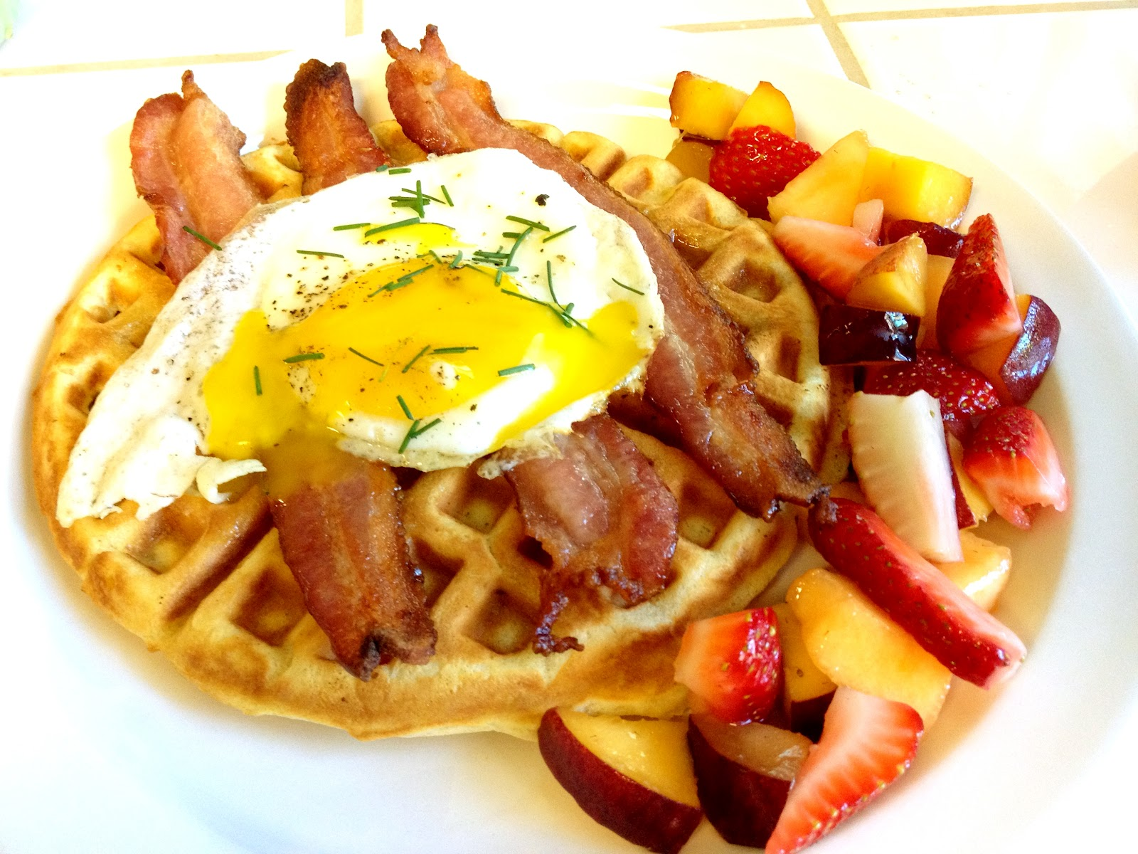 Evolution of a Foodie: Sour Cream Waffles topped with Bacon and an Egg