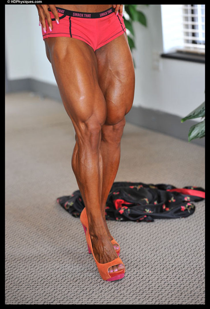 Kashma Maharaj Flexing Her Muscular Quads And Calves In Heels