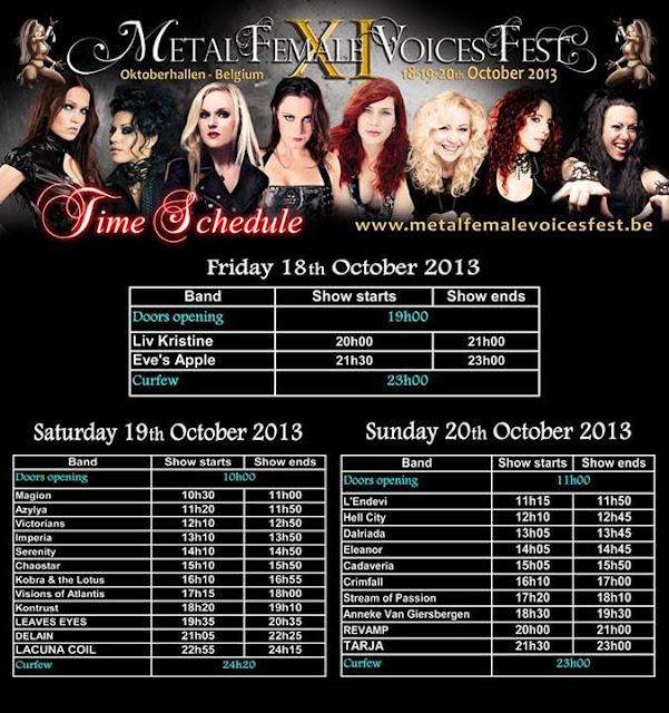 Cartel actuaciones Metal Female Voices Fest 2013