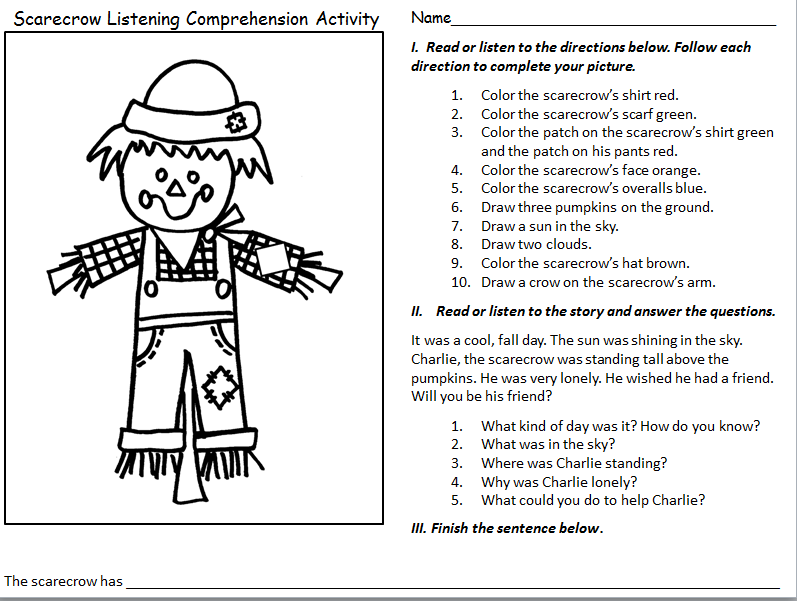 http://www.teacherspayteachers.com/Product/FREEBIE-Scarecrow-Listening-Comprehension-Activity-1557003