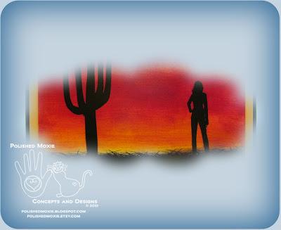 Portion of the image on my Handmade Desert Sunset Card.