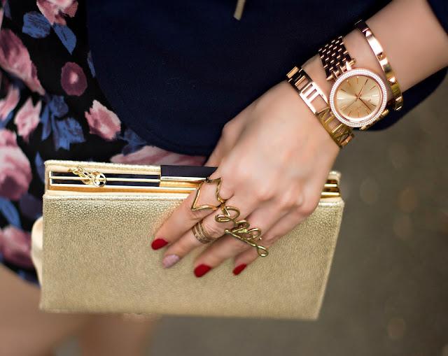 The PeachBox Bracelets, Rose Gold Michael Kors watch, Gold Clutch, Love Ring, Midi-ring