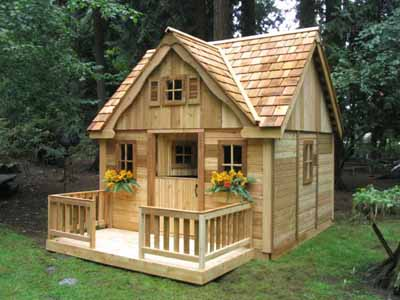 Kid's Country Cottage Outdoor Playhouse Ideas