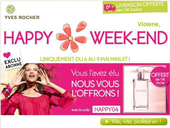 """GRATUIT Parfum """"comme une Evidence"""" Yves Rocher offert: valeur 34.80€ Bon plan mademoiselle bons plans"""