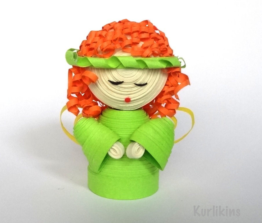 3D paper quilling miniature fire fairy