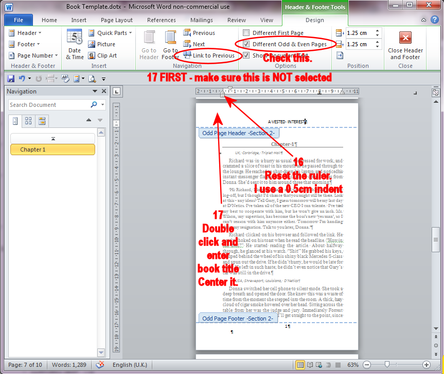 making a title page in word