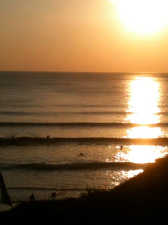 Newquay waves and sunset