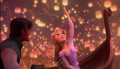 Eugene and Rapunzel in boat seeing Lanterns