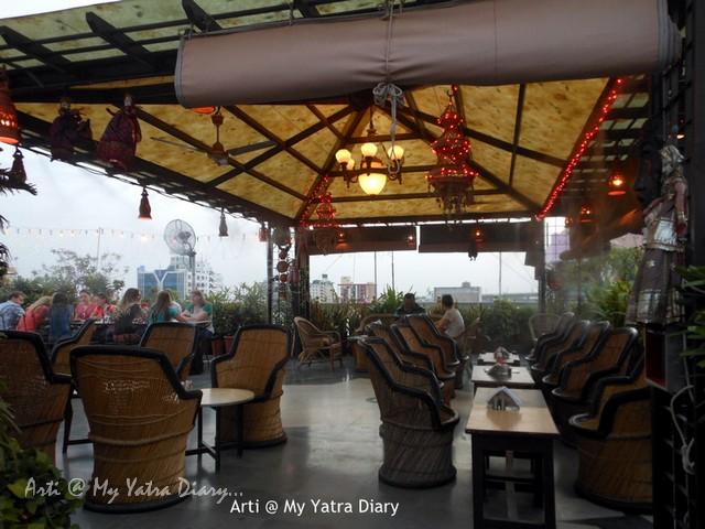 Rooftop restaurant at budget  Hotel Kalyan, Jaipur, Rajasthan