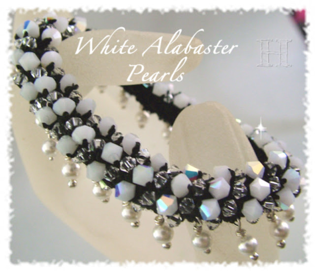 White Alabaster Pearls Crochet Bangle