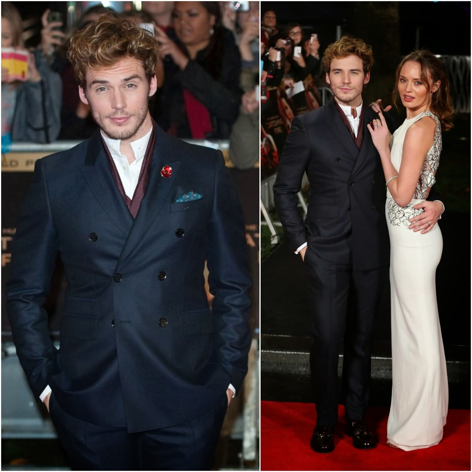00O00 Menswear Blog: Sam Claflin in Burberry Tailoring - 'The Hunger Games: Catching Fire' London Premiere November 2013