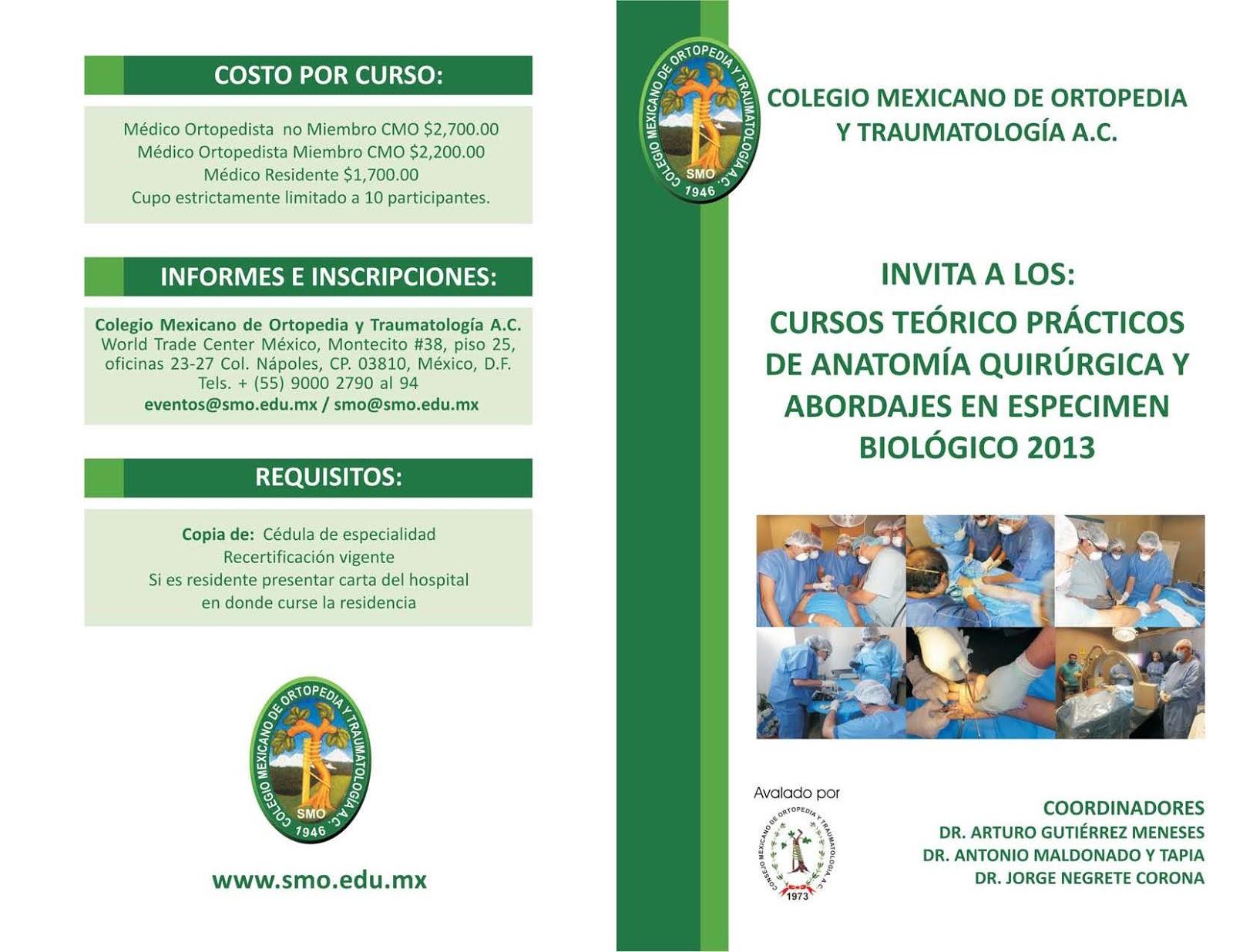 Colegio Mexicano de Ortopedia y Traumatología: Cursos en especimen ...