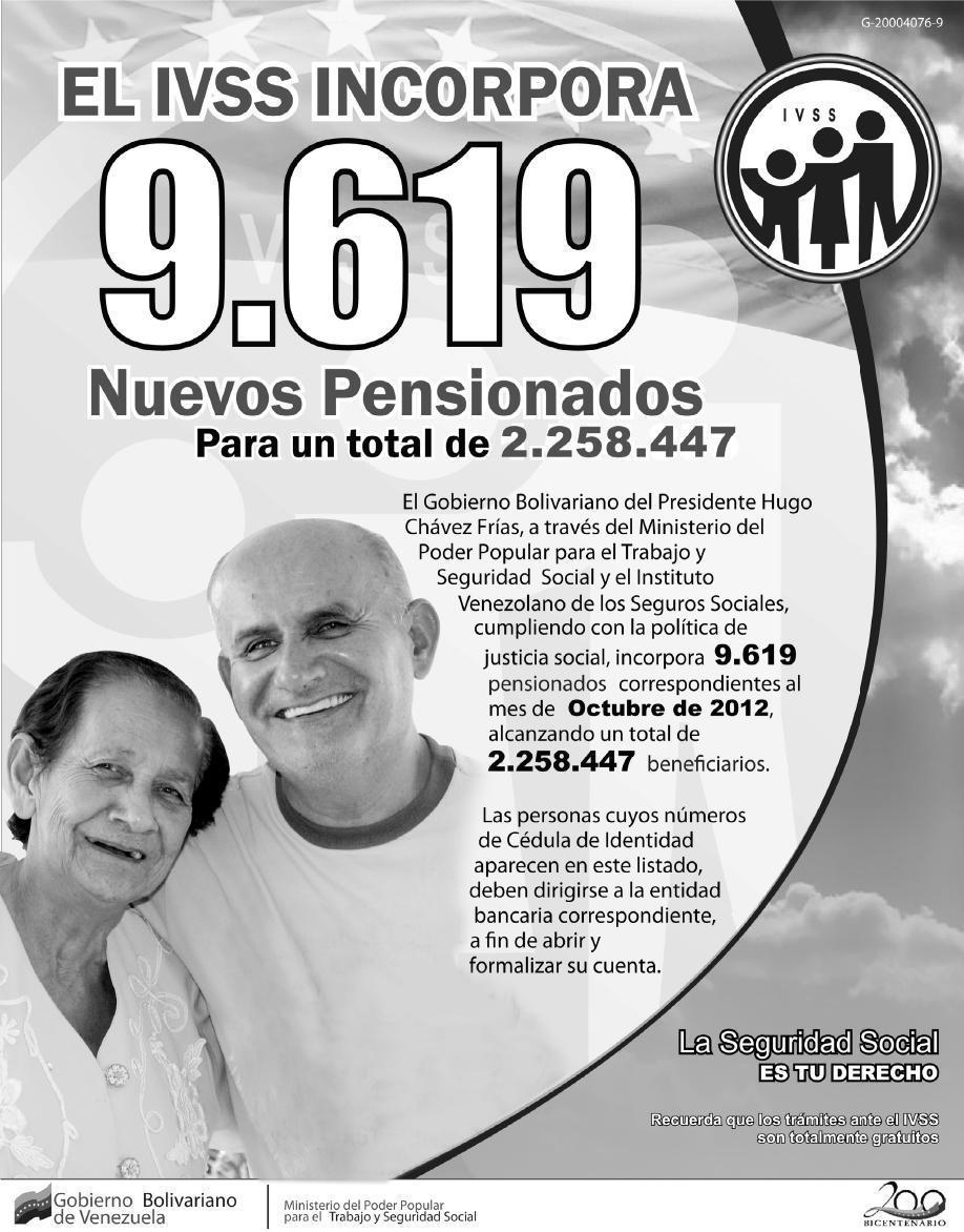 Ultimo listado de Pensionados Amor Mayor 23-09-2012 (Septiembre)