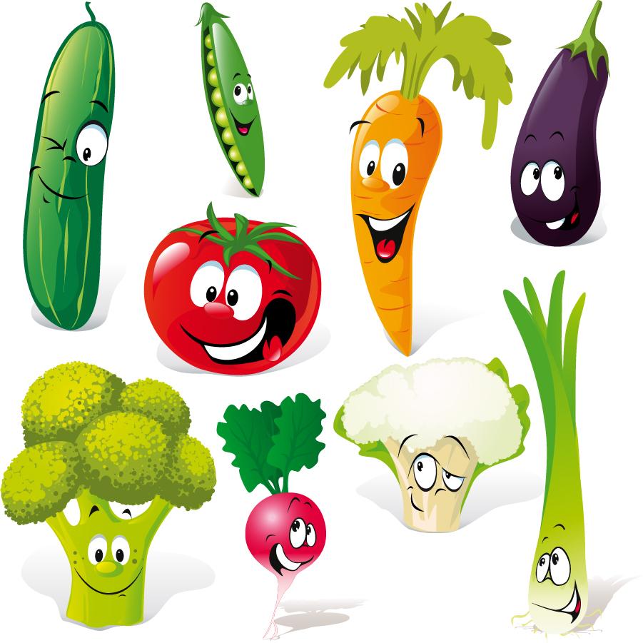 野菜の表情を描いた漫画 cartoon vegetables facial expressions イラスト素材