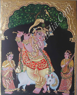 Venugopala Krishna, the protector of cattle, playing the flute