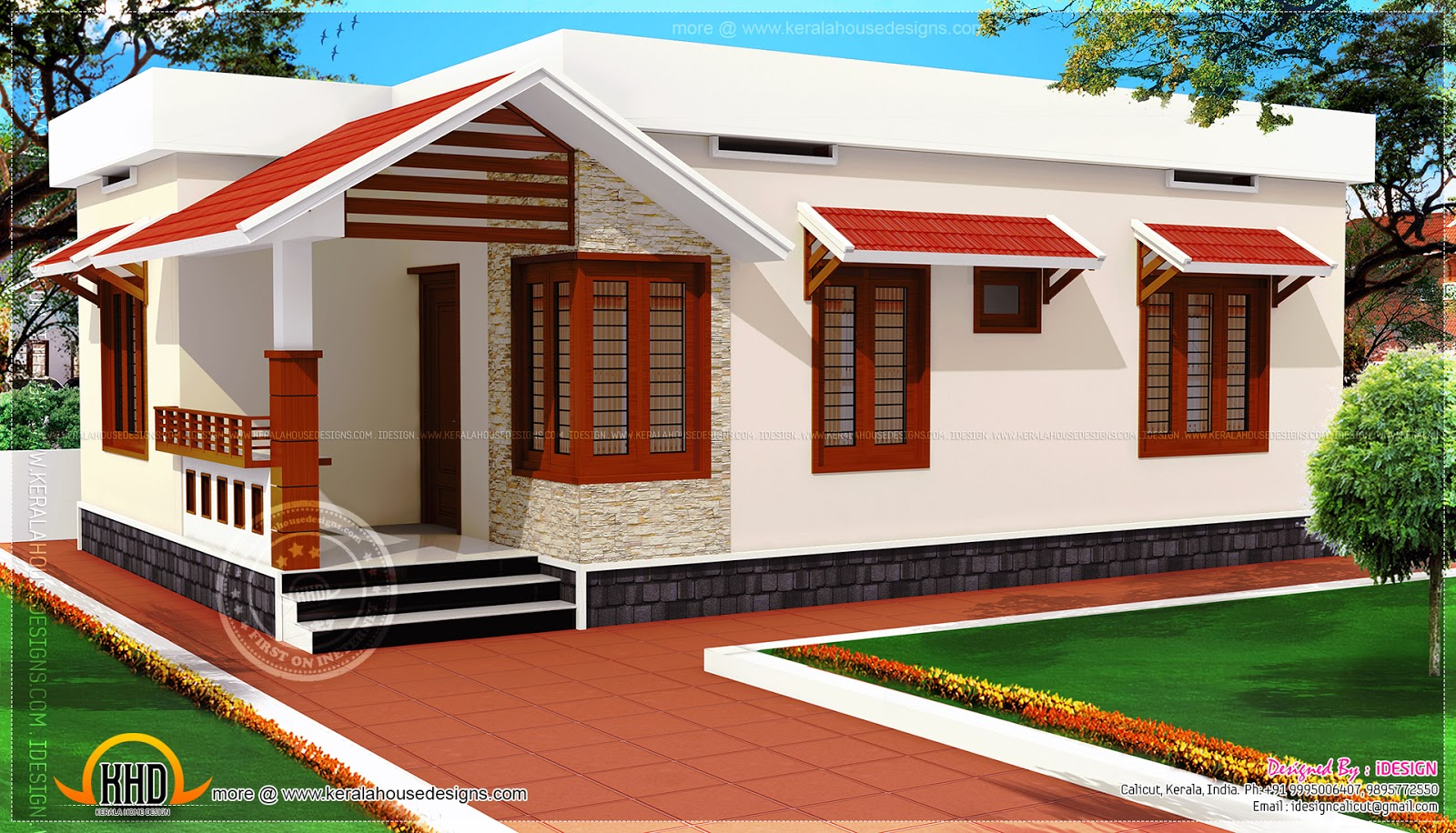 Low cost kerala home design in 730 square feet kerala for Village home designs