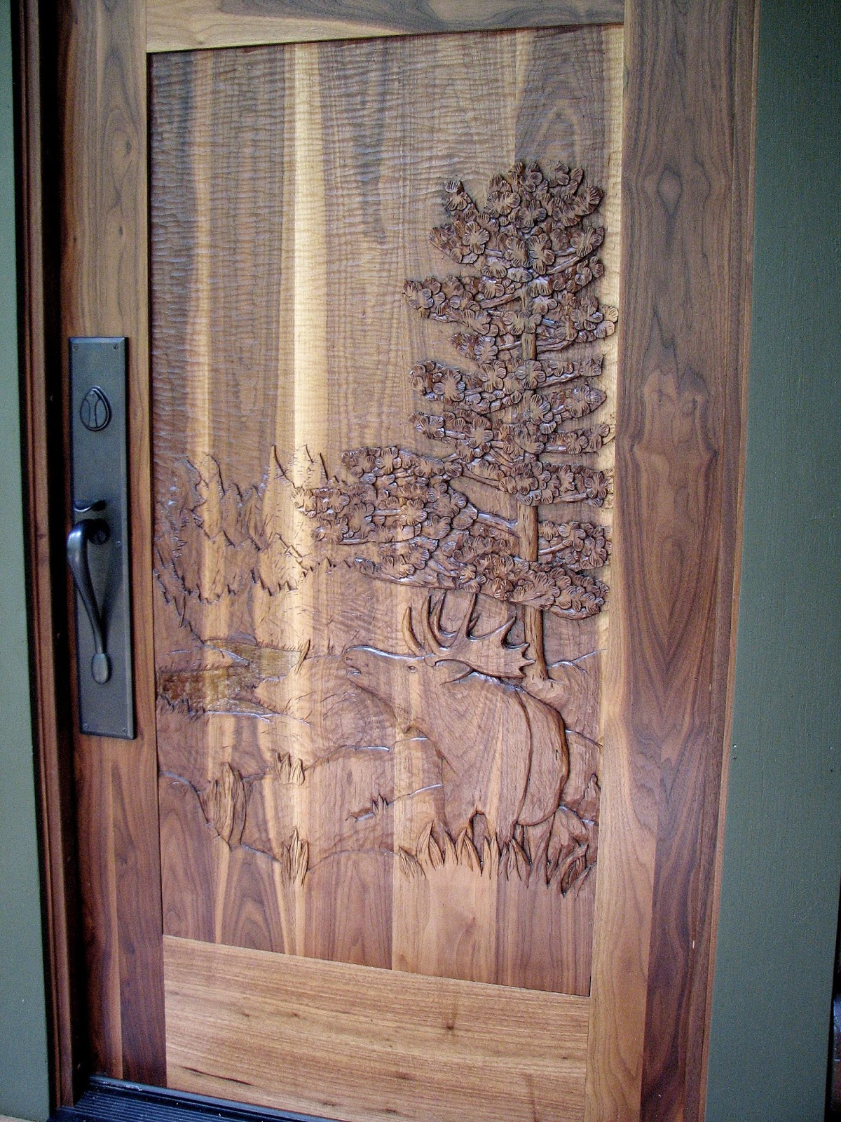 Black, walnut, entry, door, john, huisman, minnesota, wildlife, moose, wood, carved,