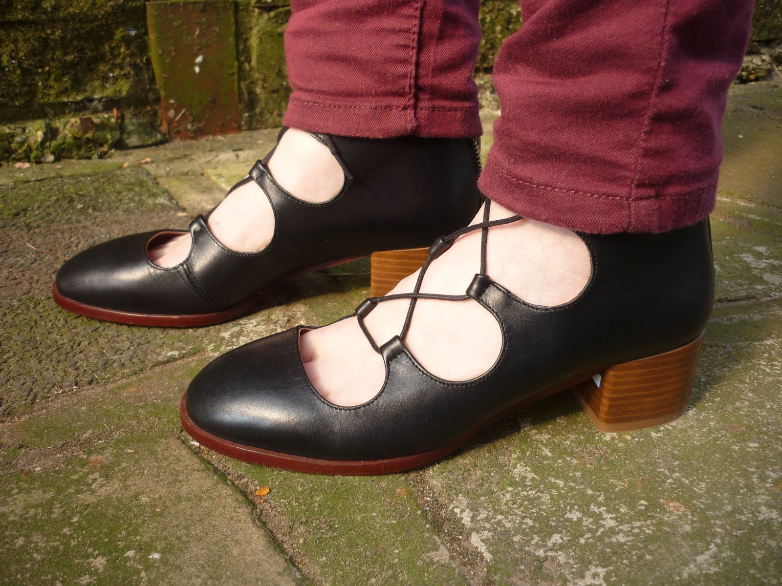 Burgundy Jeans, Side view of Topshop Kirk Ghillies | Petite Silver Vixen