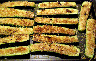 Baking Sheet filled with Parmesan Crusted Zucchini Halves