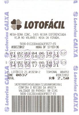 Resultado do concurso 0837 da lotofácil