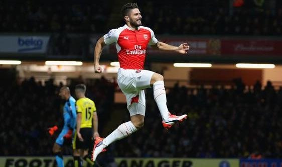 Selebrasi Giroud pada gol kedua Arsenal -Premier League