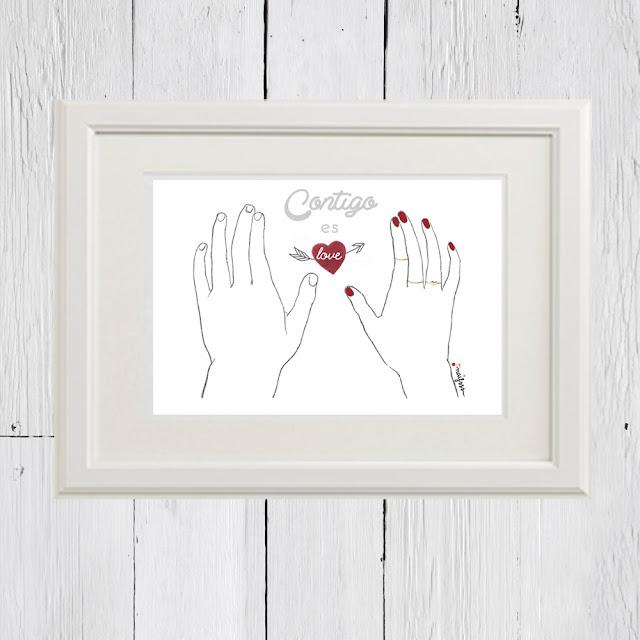 Lámina con marco contigo es love San Valentín