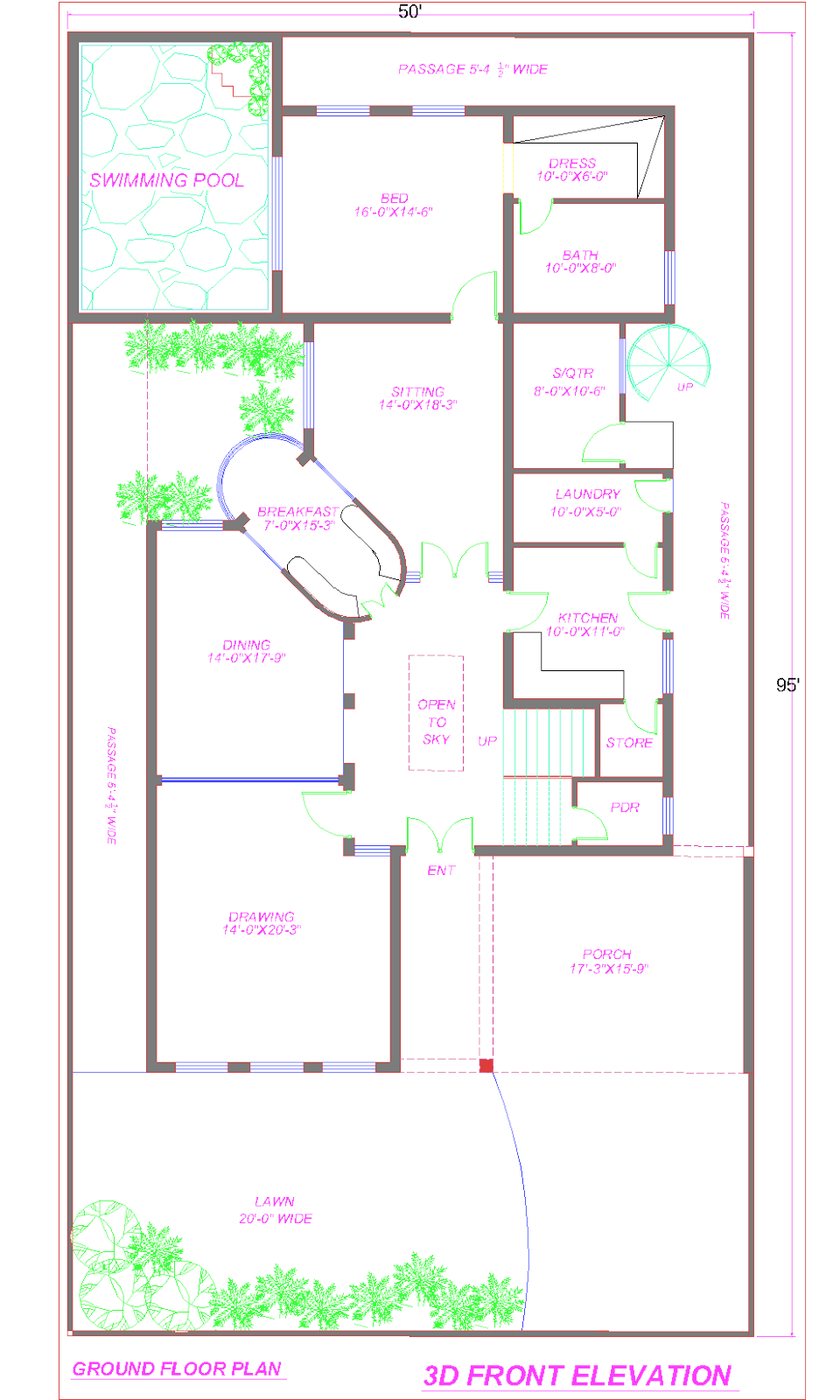 3d front 1 kanal house plan with swimming for Swimming pool plan layout