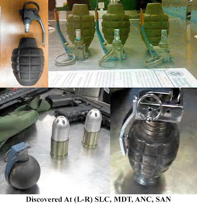 Eight replica/inert grenades were discovered this week, one in a carry-on bag at Salt Lake City (SLC), and five others in checked baggage &#8211; three at Harrisburg (MDT), three at Anchorage (ANC), and one at San Diego (SAN). 