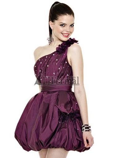 къса пурпурна рокля-балон