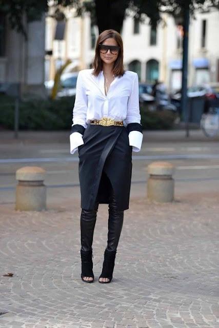 Saias e vestidos por cima de calças  moda