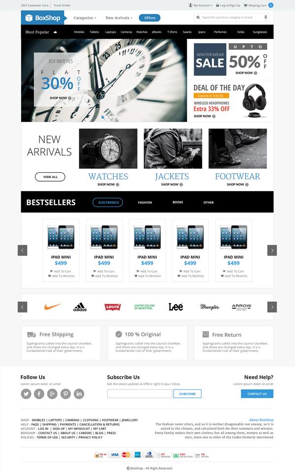 BoxShop Ecommerce Website PSD Template